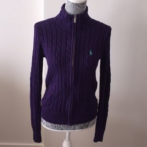 Ralph Lauren Sport Zip up Cable Knit Sweater M
